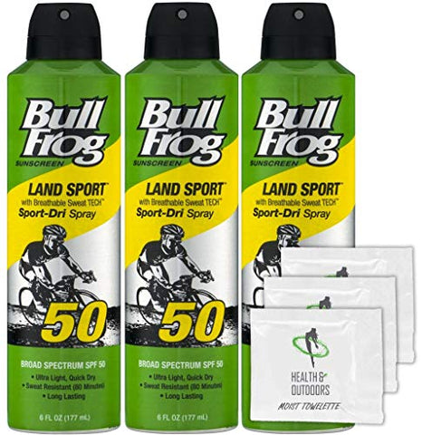 Bullfrog Sunscreen Land Sport SPF50, 6 oz (3 Pack) + H&O Moist Towelettes