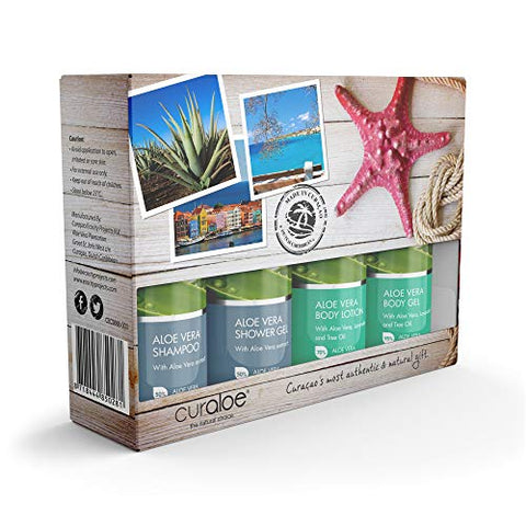 Aloe Vera Gift Set by Curaloe| Organic Body Gel, Bath/Shower Gel, Hair Shampoo, Body Lotion Samples| Great Value for Women and Men| Pure - The Plant in a Bottle | TSA Approved Travel Size 4 Pack