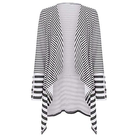 WUAI-Women Cardigans Striped Printed Open Front Kimono Loose Cardigan Coat Tops?Black,Small