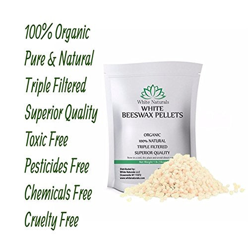 White Beeswax Pellets 1 Lb (16 Oz), Pure, Natural, Cosmetic Grade, Top Quality Bees Wax Pastilles, T