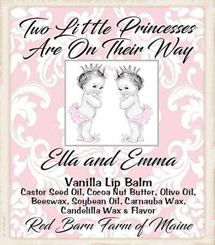20 Personalized Twin Girl Lip Balm Baby Shower Party Favors