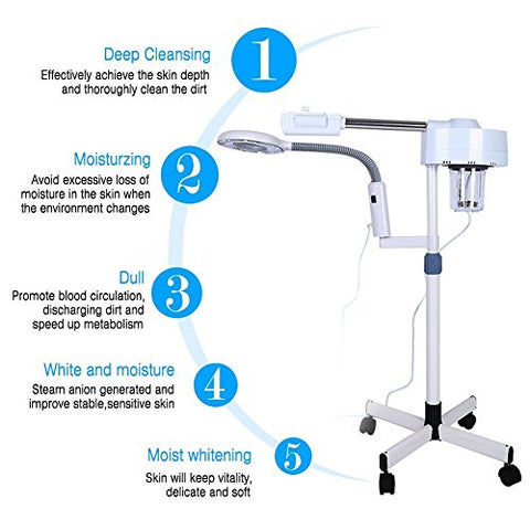 2in1 Facial Steamer, 3X Magnifying LED Floor Lamp Multifunction Spa Professional Humidifier Beauty Facial Clean Skin Care Tool
