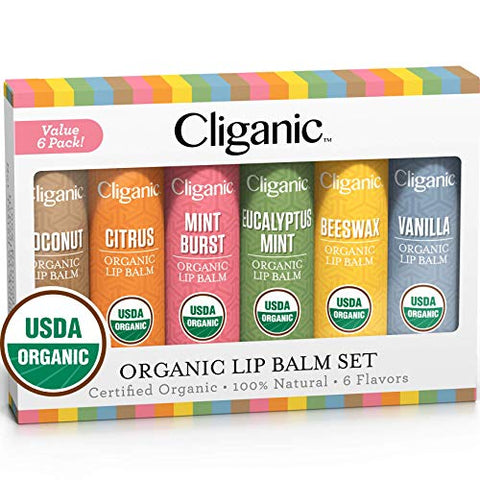 Cliganic Usda Organic Lip Balm Set   6 Flavors   100% Natural Moisturizer For Cracked & Dry Lips