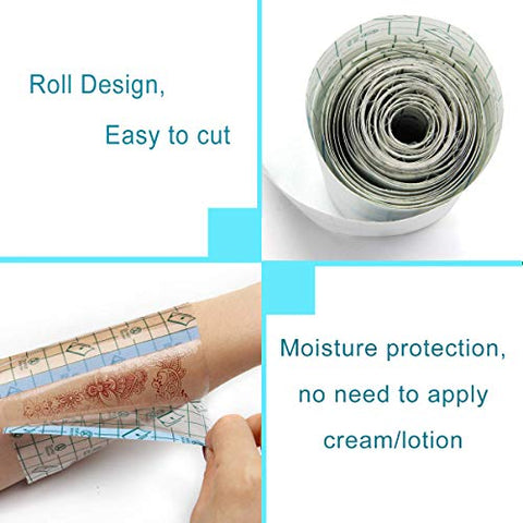 Tattoo Bandage 10.2x40 inches Protective Waterproof Tattoo Film AfterCare Transparent Adhesive Antibacterial Barrier Film Aftercare Product for Initial Healing Tattoo Supplies