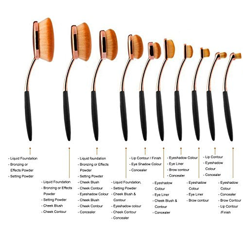 Yoseng Makeup Brushes Set 10Pcs Professional Oval Toothbrush Foundation Contour Powder Blush Conceler Eyeliner Blending Brush New Fashionable Super Soft Cosmetic Brushes Tool Set with Box(Rose Gold)