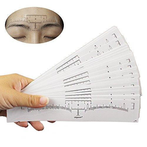 Airgoesin 50pcs Disposable Adhesive Eyebrow Microblading Ruler Guide Sticker Tape Tattoo Template Beauty Tool