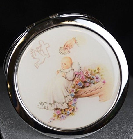 YRP 12 Pcs Baptism Party Favors for Boy and Girl - Recuerdos de Bautizo / Christening Compact Mirrors