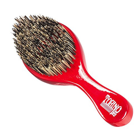 Torino Pro Wave Brush #470 by Brush King - Extra Hard Curve Wave Brush with Reinforced Boar & Nylon Bristles - Great for Wolfing - Curved 360 Waves Brush