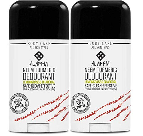 Alaffia Neem Turmeric Activated Charcoal Deodorant, Odor Protection and Support from Shea Butter and Aloe Vera, Fair Trade, No Aluminum, No Parabens, Lemongrass Tea Tree, 2.65 Ounces (2 Pack)
