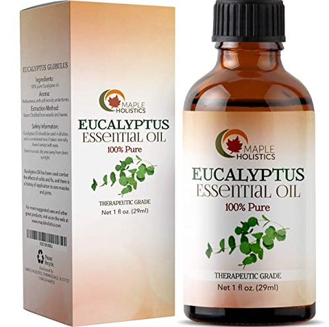 100% Pure Eucalyptus Essential Oil for Diffuser and Aromatherapy Undiluted Therapeutic Grade Premium Healing Antibacterial and Decongestant for Breathing Support Promotes Relaxation and Pain Relief