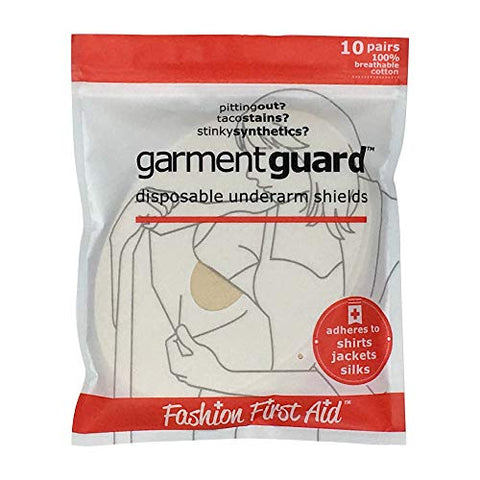 Garment Guard: The Original Disposable Adhesive COTTON Underarm Sweat Pads, Unisex to Prevent Armpit Stain (10 pairs, Beige)