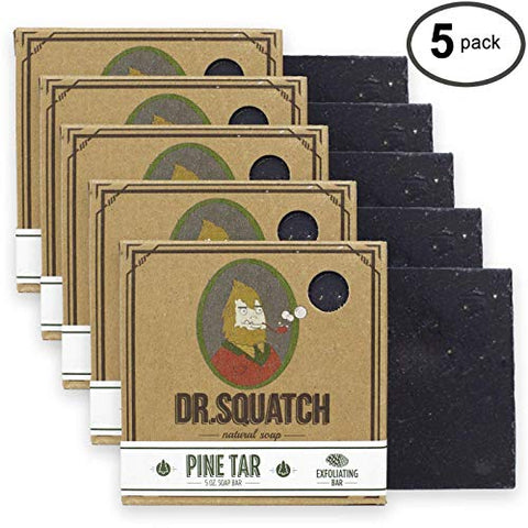 Dr. Squatch Pine Tar Soap 5 Pack Bundle â?? Mens Bar With Natural Woodsy Scent And Skin Exfoliating