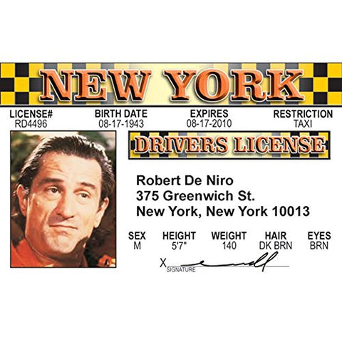 Signs 4 Fun Nrdid De Niro's Driver's License