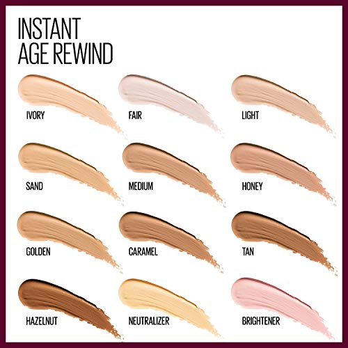 Maybelline Instant Age Rewind Eraser Dark Circles Treatment Multi-Use Concealer, Light, 0.2 Fl Oz, 2 Count