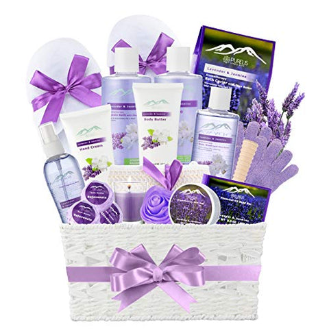 Jasmine Lavender Bath Gift Basket for Women! XL Spa Gift Basket for Relaxing at Home Spa Kit. Purelis Aromatherapy Bath Sets for Women are the #1 Choice in Spa Baskets and Womens Gift Baskets