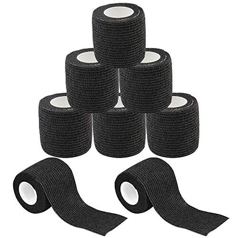 Self Adhesive Tape - Yuelong 8Pack 2 x 5 Yards Self-Adherent Cohesive Tape Tattoo Grip Wrap Cover Strong Sports Tape, Black Self-Adhesive Bandage Rolls,Athletic Tape