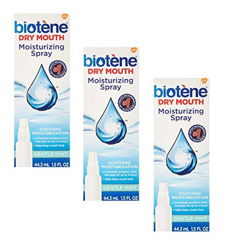 Biotene Gentle Mint Moisturizing Mouth Spray, Sugar-Free, for Dry Mouth and Fresh Breath, 1.5 Ounce (Pack of 3)