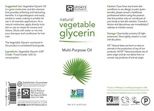 Pure Vegetable Glycerin   16oz | 100% Non Gmo Multi Purpose Oil | Amazing Benefits For Hair & Skin