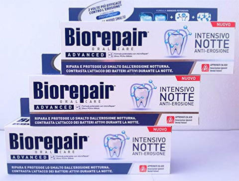 Biorepair: Dentifricio per la Notte (Intensive Night Repair) Toothpaste with microRepair 2.5 Fluid Ounce (75ml) Tube [ Italian Import ] by Coswell S.p.A.