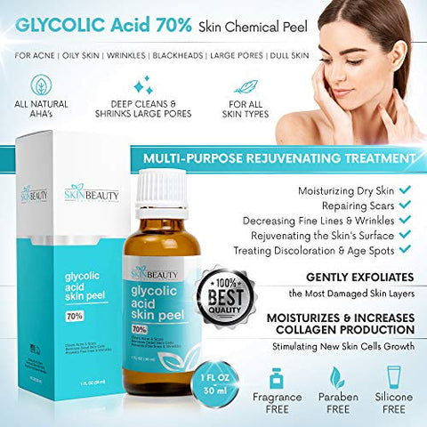 Glycolic Acid Peel 70% Skin Chemical Peel   Unbuffered   Alpha Hydroxy (Aha) For Acne, Oily Skin, Wr