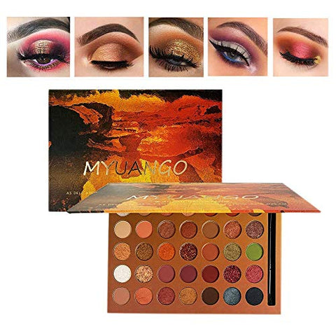 MYUANGO 35 Colors Eyeshadow Supper Pigmented Makeup Palette Natural Colors Blendable Cream Soft Powder Metallic Matte Shimmer Glitter Bronze Sunset With Eyeshadow Blending Brush