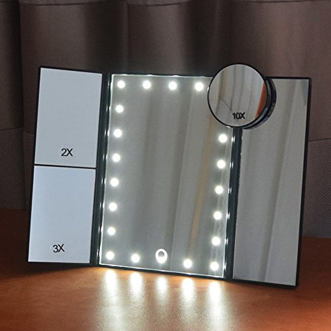 Makeup Mirror With Lights Dolovemk 21 Led Vanity Mirror,1 X/2 X/3 X/10 X Magnification,Rotation Touch Sc