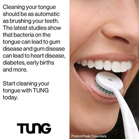 Peak Essentials | The Original TUNG Brush Kits | Premium | Tongue Cleaner | Scraper | Scrubber | Odor Eliminator | Fight Bad Breath | Fresh Mint | BPA Free | Made in America | (2 Count w/Cap)