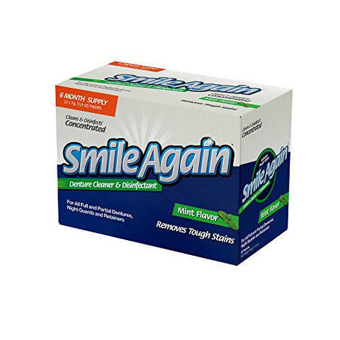 Smile Again Denture, Mouth Guard, Night Guard, Retainer Cleaner and Disinfectant - Mint Flavor - 6 M