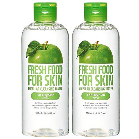 Micellar Water Face Cleansing Make up Remover by Fresh Food for Skin (Apple (Oily Skin), 2 Pk Set)
