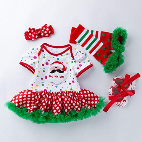 Baby Girls Christmas Costume,Smilvy Toddler Santa Romper Tutu Shoes Headband Leg Warmer Set-0-24 Months-Cute and Cotton