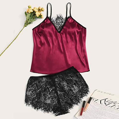 Women Pajamas, Women's Sexy Lingerie Comfy Shorts Sets Satin Lace Nightgowns Sleepshirts Nightwear Sleepwear