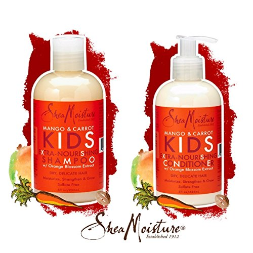 SheaMoisture Mango & Carrot KIDS, Extra-Nourishing, Shampoo and Conditioner, Orange Blossom Extract,
