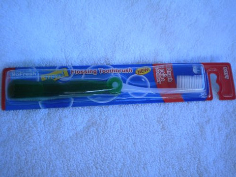 Green Travel/Foldable SoFresh Adult Flossing Toothbrush, Soft
