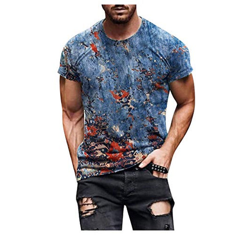 Summer Plus Size Shirts Tops for Men Spring Summer Casual Slim 3D Printed Short Sleeve T Shirt Top Blouse Blue