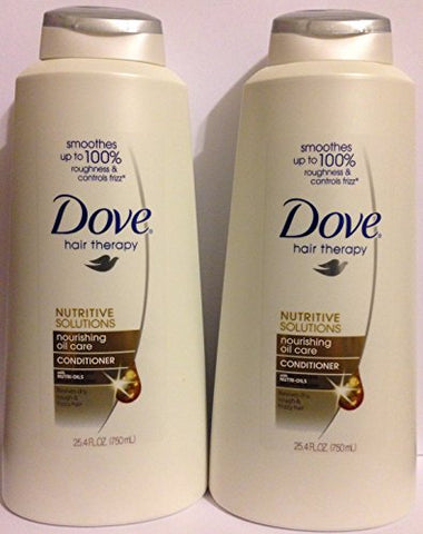 Dove Hair Therapy - Nourishing Oil Care - Conditioner - Net Wt. 25.4 FL OZ (750 mL) Per Bottle - Pack of 2
