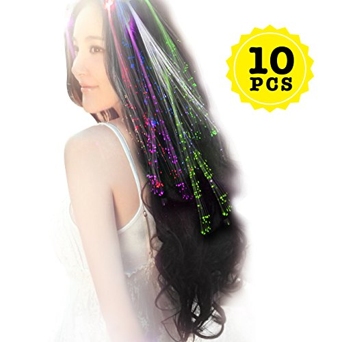 Wiekose 10pcs Multicolor Changing LED Flashing Fiber Optic Hair Braid Barrettes Lights for Party Supplies, LED Lights Hair, Bar Dancing Hairpin, Hair Clip, Multicolor Flash Barrettes Clip Braid (10)