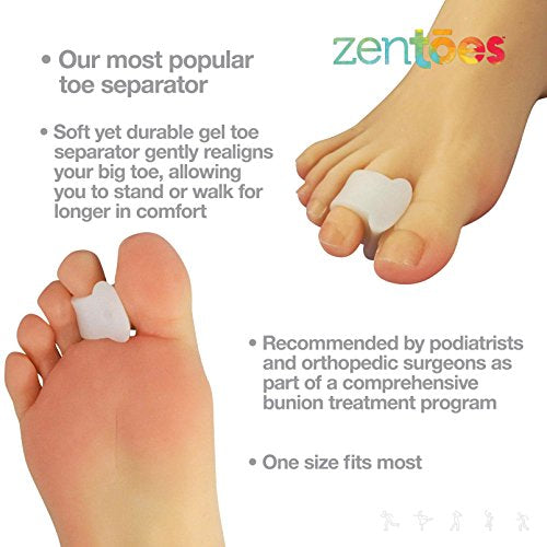 Zen Toes Pack Of 4 Toe Separators And Spreaders For Bunion, Overlapping Toes And Drift Pain Pads (Whi
