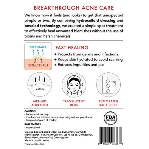 Rael Acne Pimple Healing Patch   Absorbing Cover, Invisible, Blemish Spot, Hydrocolloid, Skin Treatm