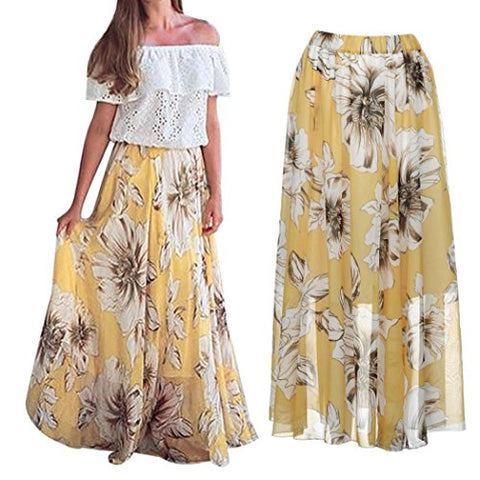 Womens Floral Jersey Gypsy Long Maxi Full Skirt Beach Sun Dress (L, Yellow)