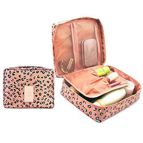 CalorMixs Travel Bag Printed Multifunction Portable Toiletry Bag Cosmetic Makeup Pouch Case Organizer for Travel, Leopard print