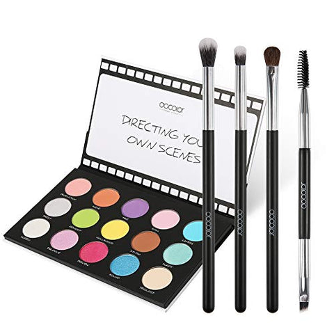 Eyeshadow Palette Docolor 15 Colors Scene Stealer Eye Shadow Palette & 4 PC Eye Makeup Brush Set, Highly Pigmented Matte Shimmer Makeup Palette With Eyeshadow Brushes Blending Cosmetic Eye Shadow