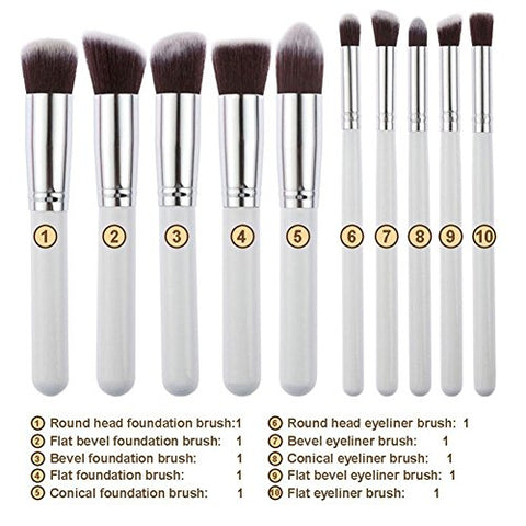 10Pcs Makeup Brush Set Beauty Foundation Brush Eyliner Eyeshadow Blending Brushes Cosmetics Make up Brushes Kit Silvery White