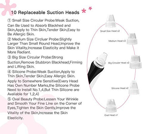 ?Newest ?Blackhead Remover Vacuum,Wandwoo Ice & Hot Sensing Electric Pore Cleaner,Lamp Care Blackhead Suction Remover, Facial Care Tool With 10 Replaceable Heads