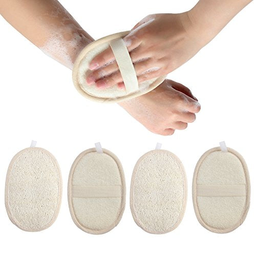 Madholly 4 Packs Exfoliating Loofah Sponge Pads, Natural Luffa Material Loofah Sponge for Men and Wo