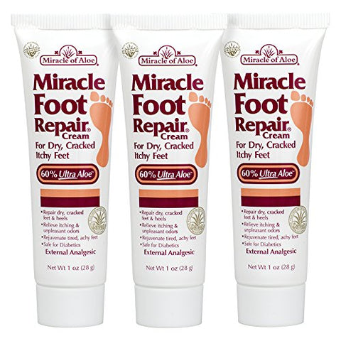 3 Pack Miracle Foot Repair Cream 1 Ounce Tube With 60% Ultra Aloe