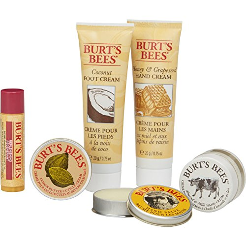 Burt's Bees Tips and Toes Kit Gift Set, 6 Travel Size Products in Gift Box - 2 Hand Creams, Foot Cre