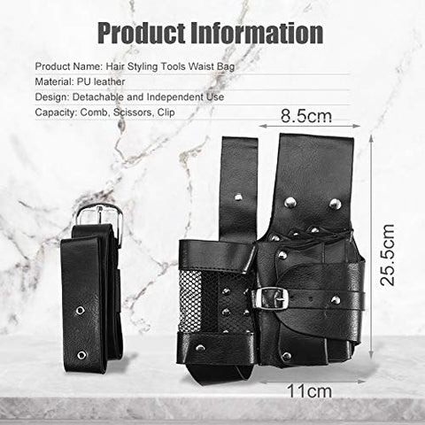 Hair Care Styling Tools Waist Bag, Salon Pu Leather Hairdressing Tool Pouch Holster With Multifuncti