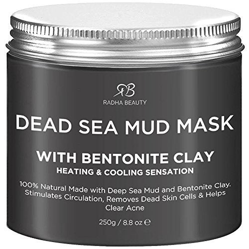Radha Beauty Dead Sea Mud Mask With Bentonite Clay For Face & Body 8.8 Oz   100% Natural Formula To