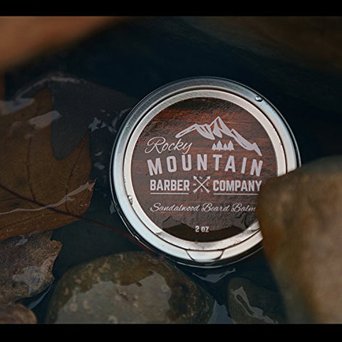 Beard Balm   Sandalwood Blend   Rocky Mountain Barber   With Nutrient Rich Bees Wax, Jojoba, Shea Bu