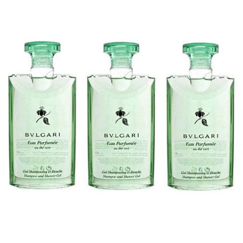 Bvlgari Au The Vert (Green Tea) Shampoo and Shower Gel Set of 3, 2.5 Fluid Ounce Bottles